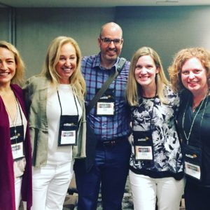 Star struck at Thrillerfest, NYT Bestselling Author Riley Sager with Kaira Rouda, Wendy Walker, Meghan Miranda and Ashley Elston